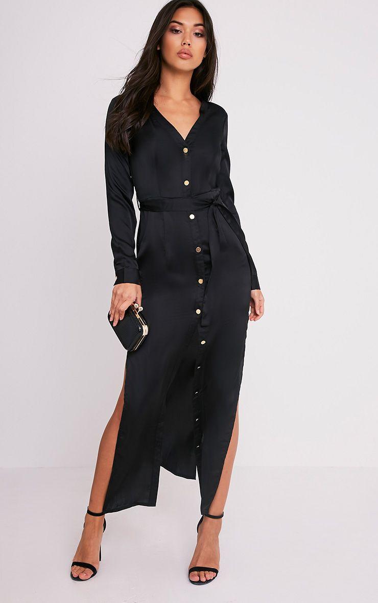 Clairia Black Button Down Silk Shirt Dress 1