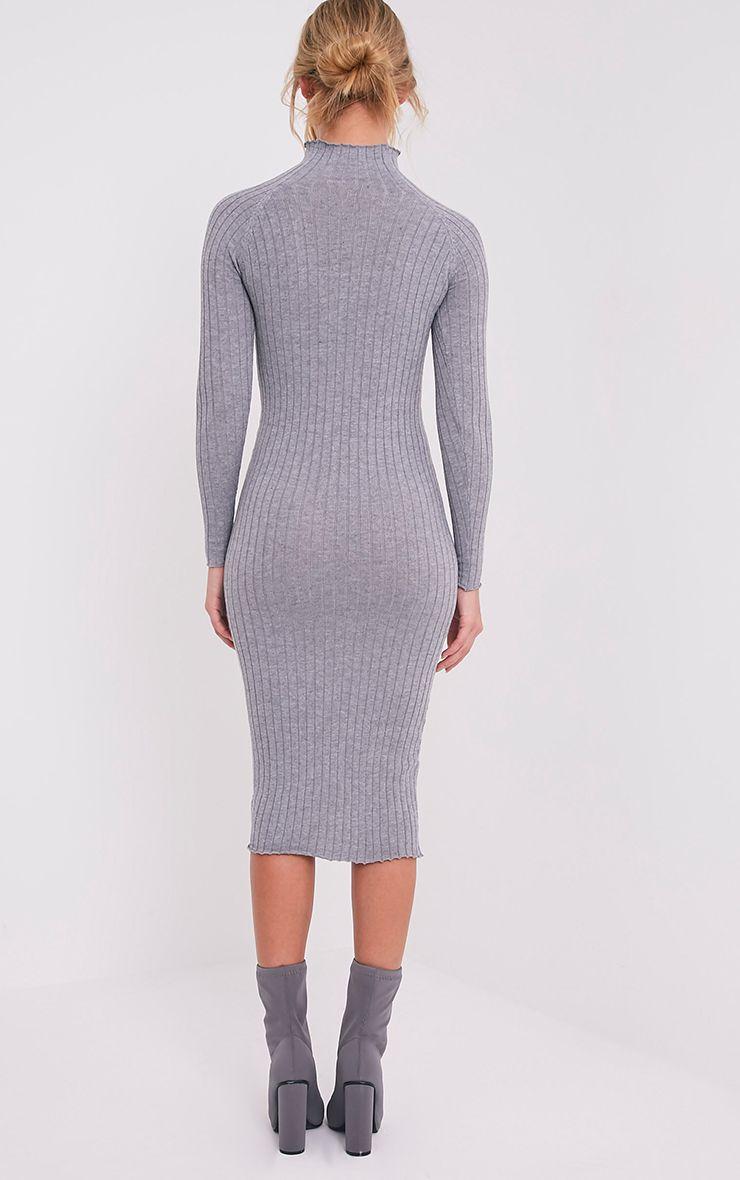 Katalina robe midi grise tricotée à côtes larges 2