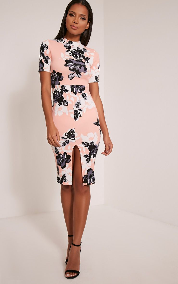 Sana Peach Floral Printed Crepe Split Front Midi Dress 1