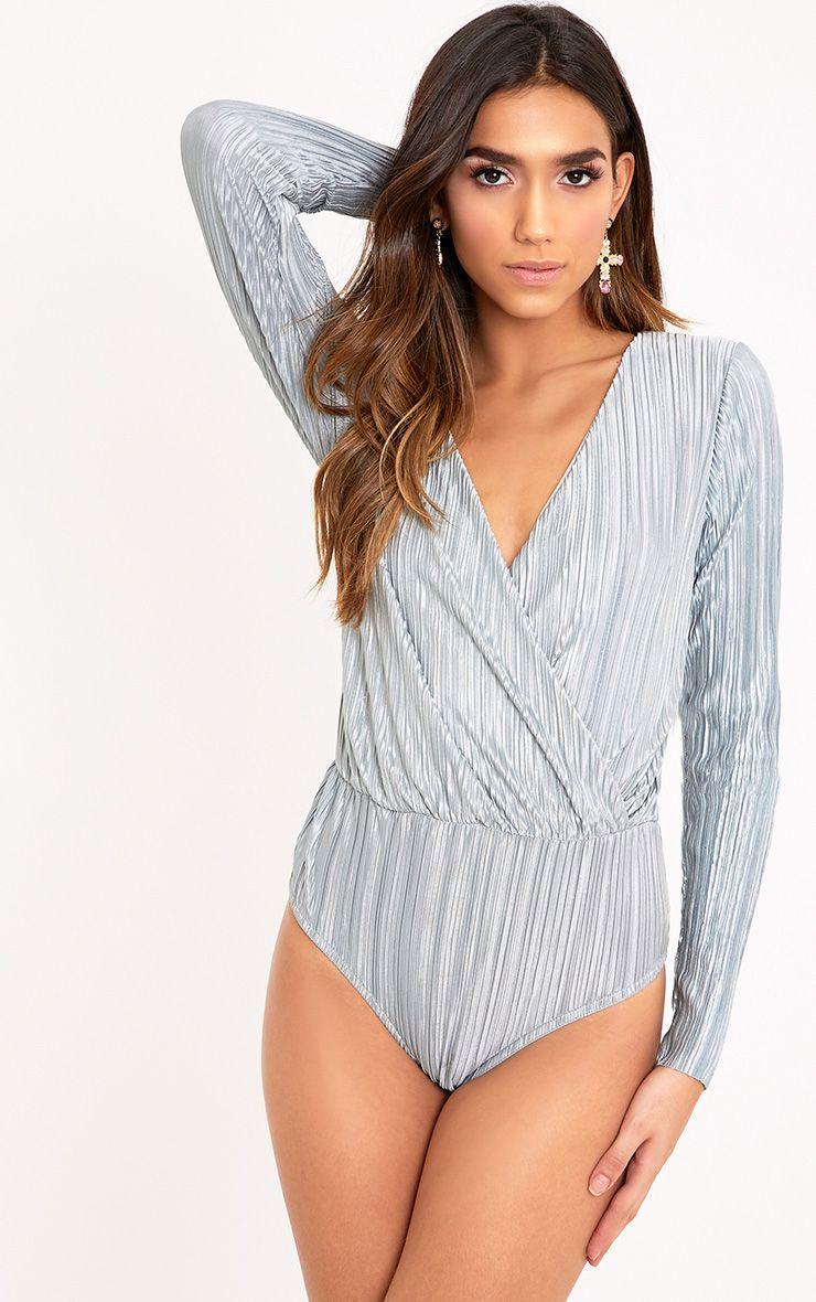 Adriana Grey Pleated Wrap Longsleeve Thong Bodysuit