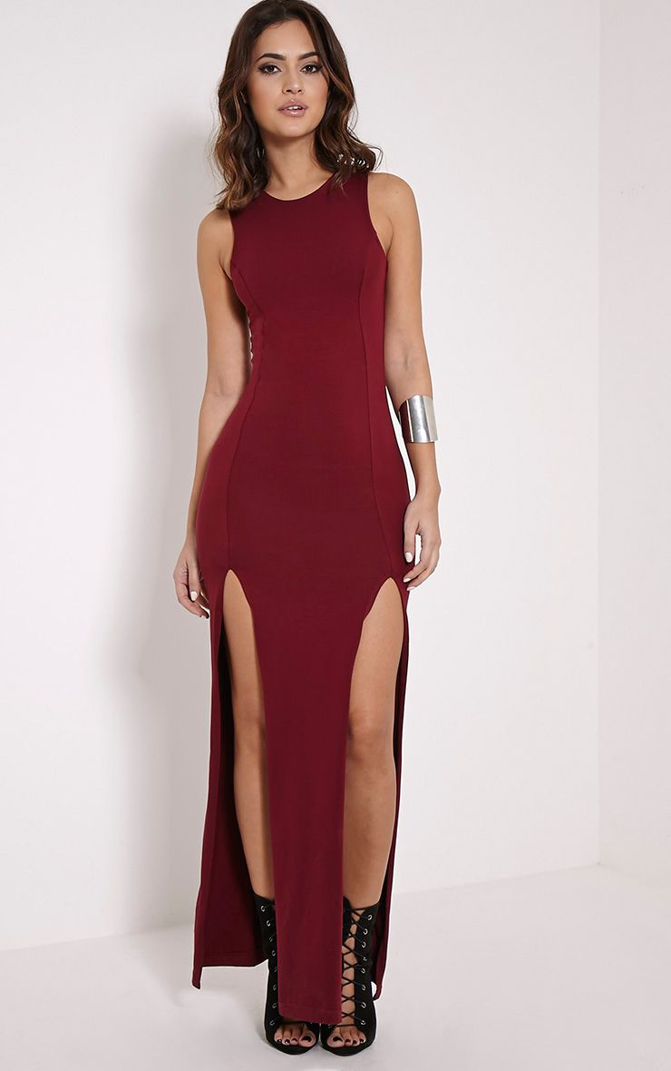 Karina Burgundy Front Split Dress 1