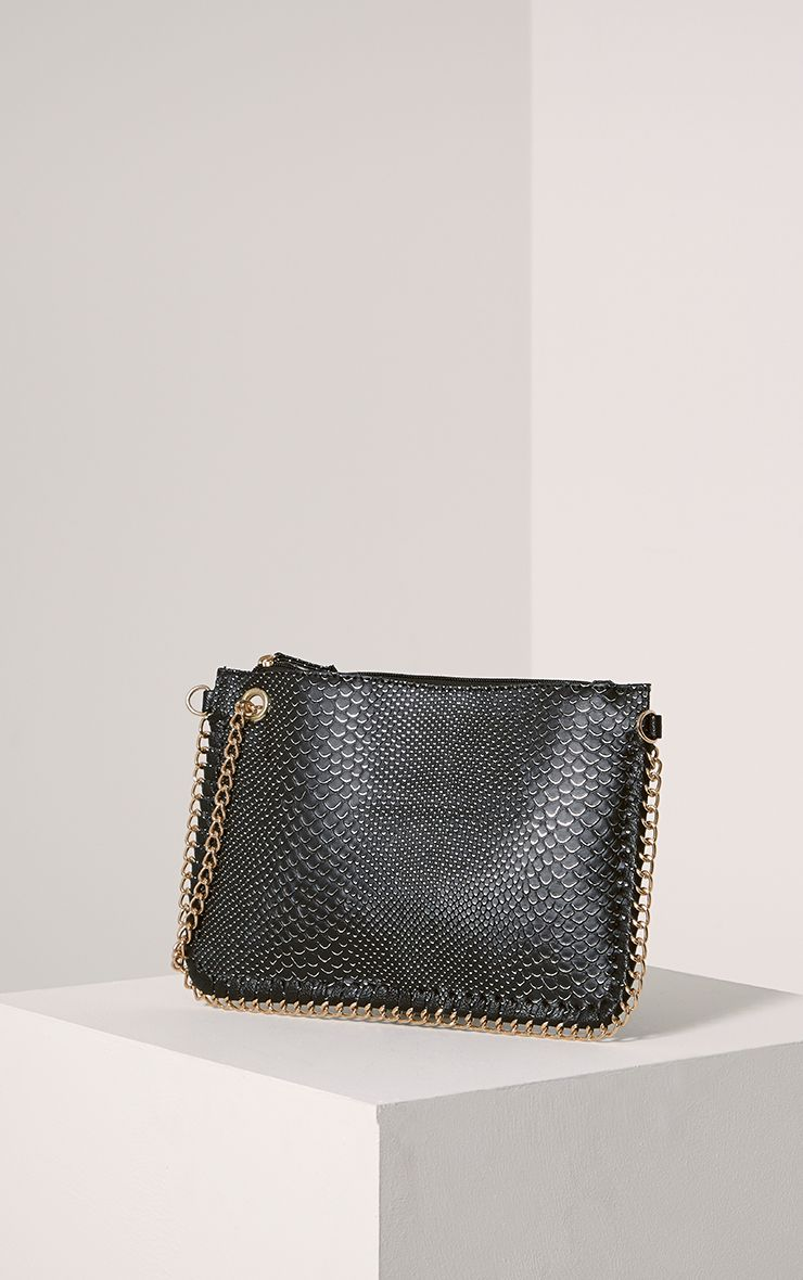 Milly Black Snake Print Chain Clutch Black