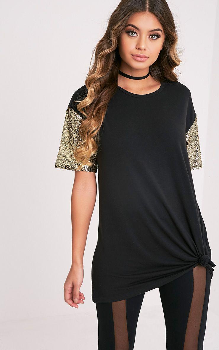 Rei Black Sequin Sleeve Jersey Oversized T Shirt