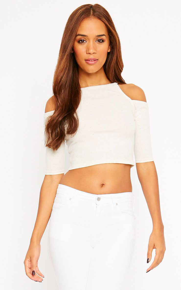 Basic Cream Cut Out Shoulder Crop Top 1