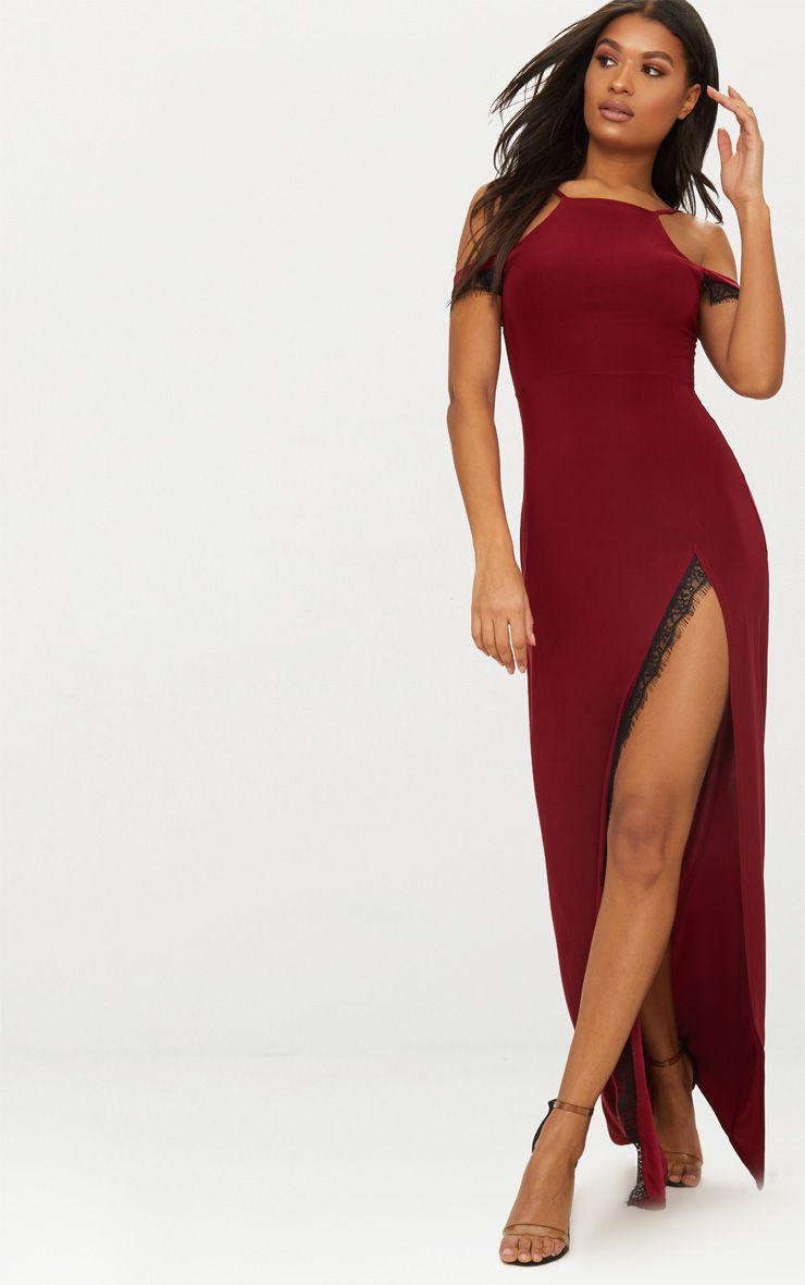 Black Lace Trim Cold Shoulder Extreme Split Maxi Dress   PrettyLittleThing AUS