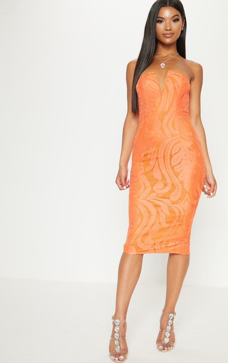 Bright Orange Lace V Bar Bandeau Midi Dress   PrettyLittleThing USA