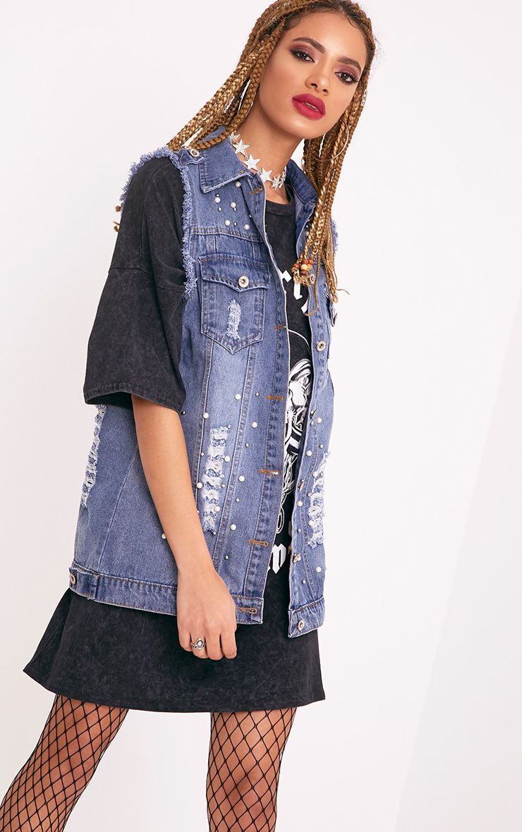 Mirriann Pearl Stud Mix Mid Wash Denim Sleeveless Jacket