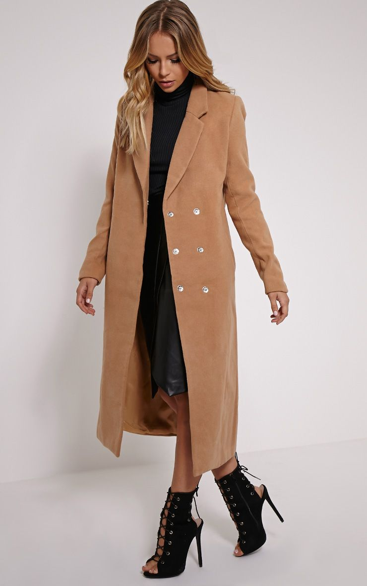 Camel Longline Double Breasted Coat 1