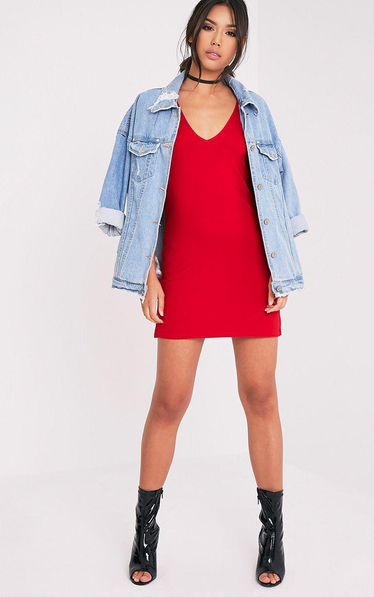 Basic Red Plunge V Neck T Shirt Dress Dresses