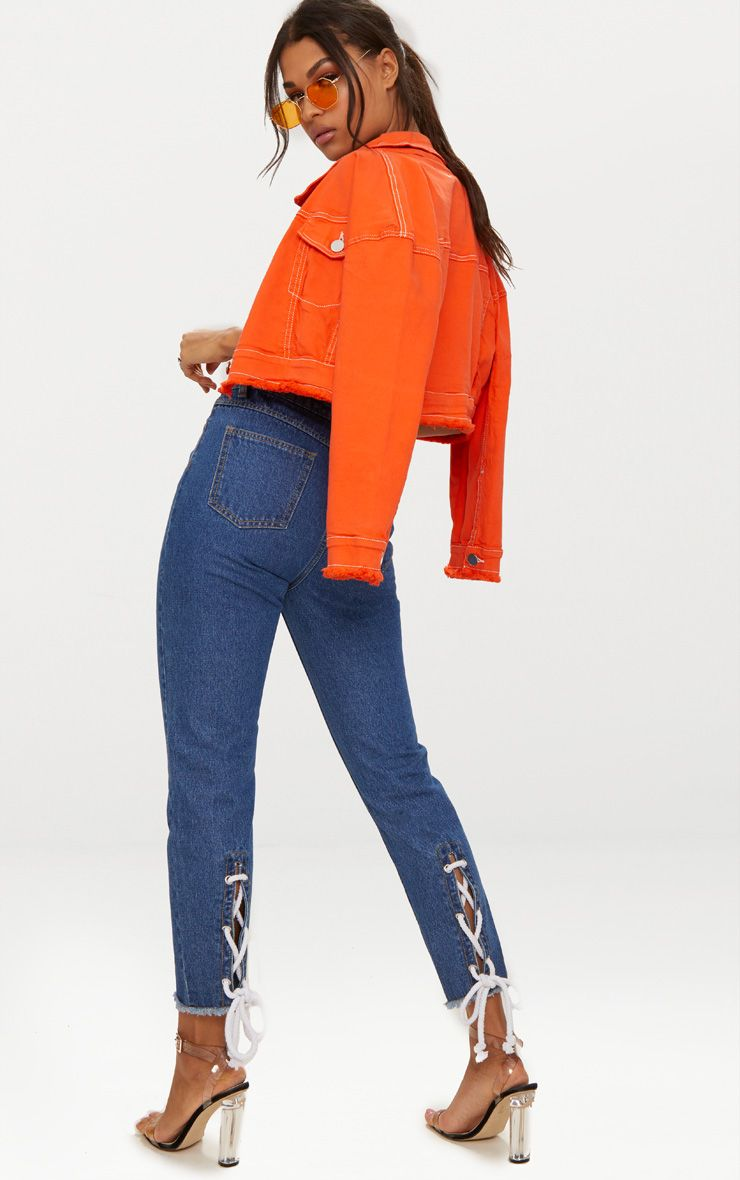 Mid Wash Lace Up Hem Mom Jeans