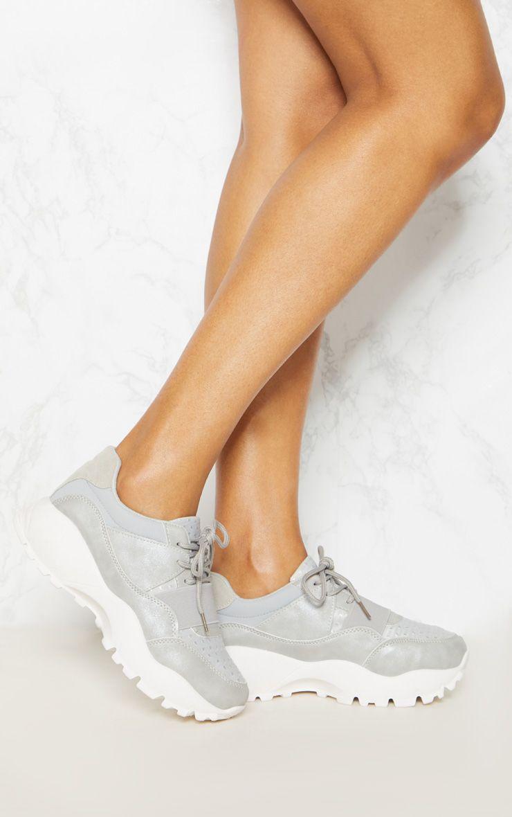 Grey Chunky Elastic Strap Trainer