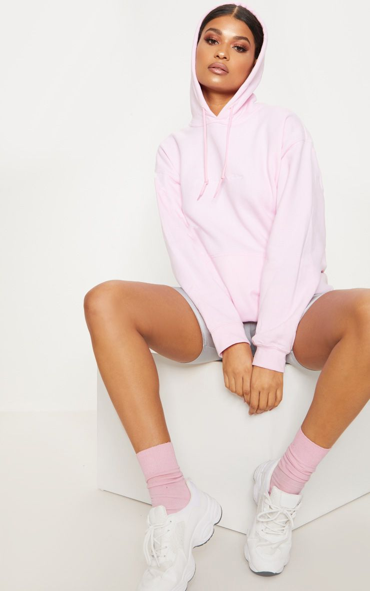 Light Pink Embroidered Pretty Little Thing Oversized Hoodie