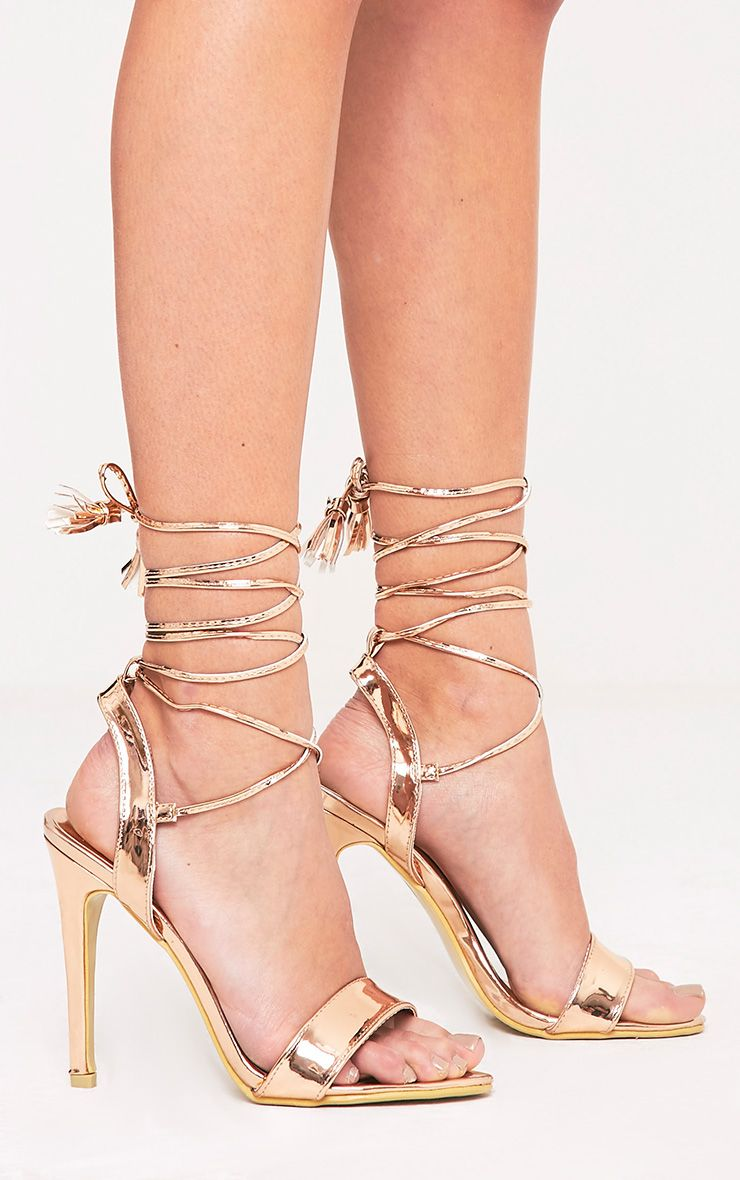 PRETTYLITTLETHING Camila Rose Tassel Lace Up Heeled Sandals NqqeDcEKS