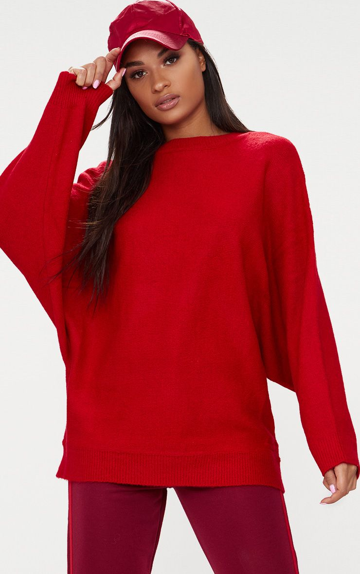 Red Oversized Knitted Jumper