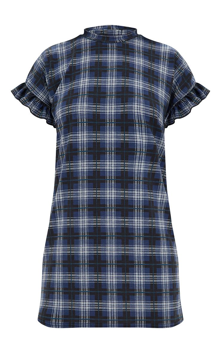 Blue check frill sleeve t shirt dress dresses for Blue check dress shirt