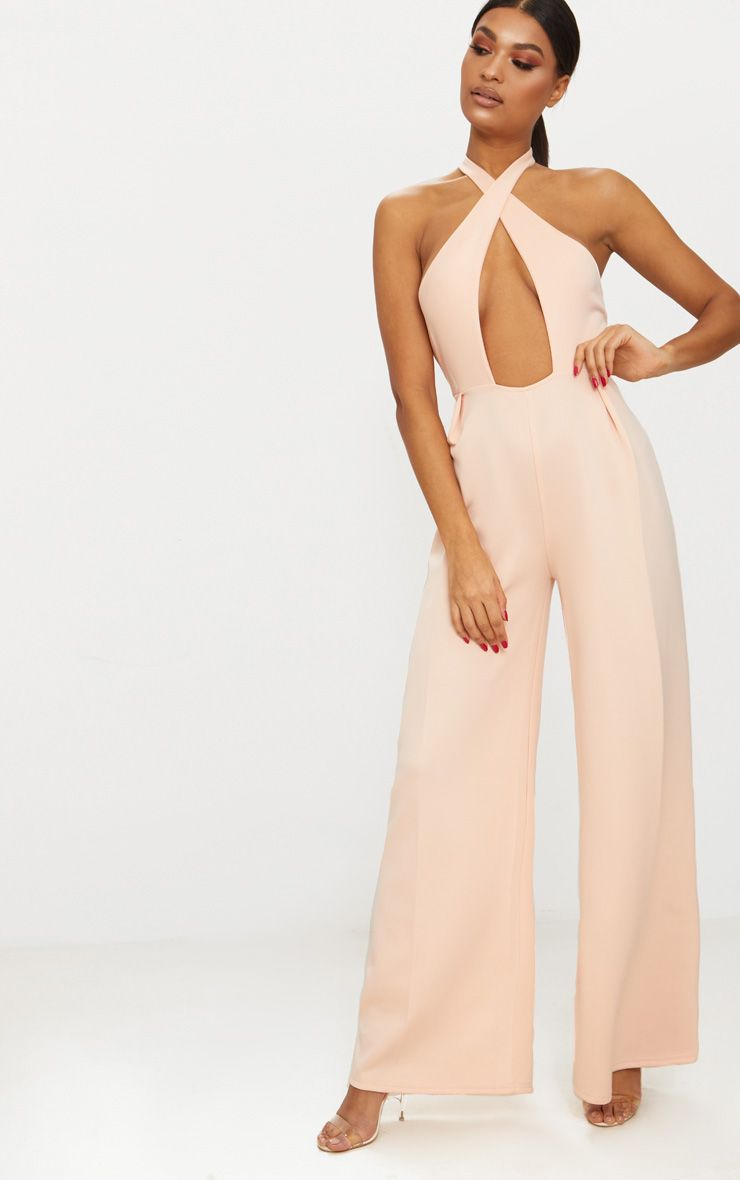 Nude Cross Front Seam Detail Jumpsuit