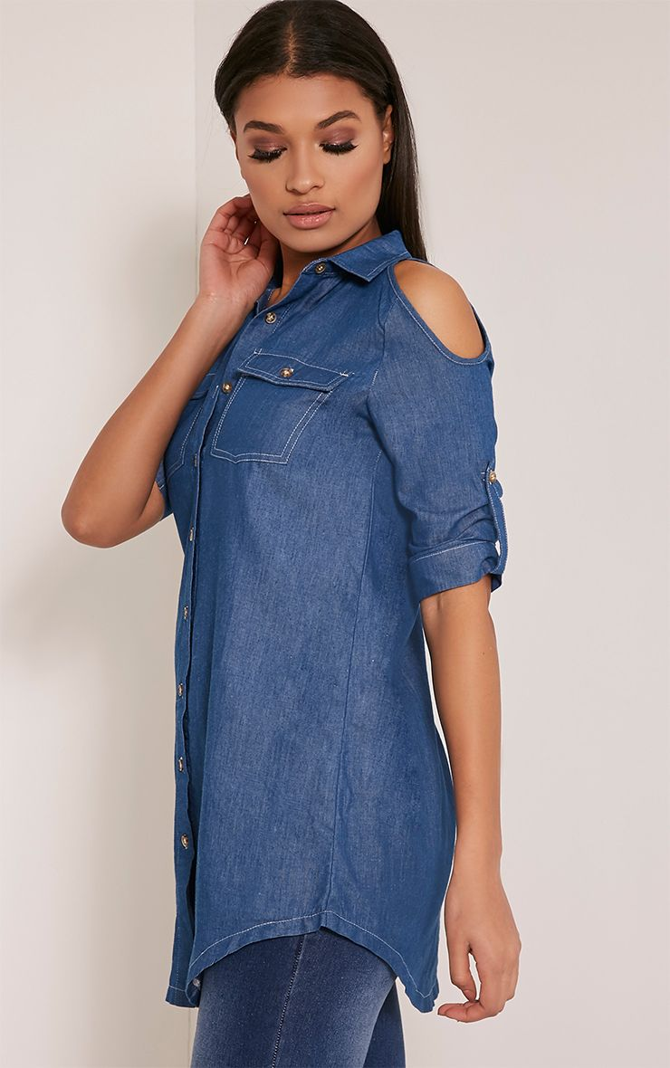 Allia Blue Dark Wash Cold Shoulder Denim Shirt 1
