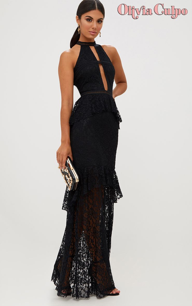 Black Lace Ruffle Detail Plunge Maxi Dress