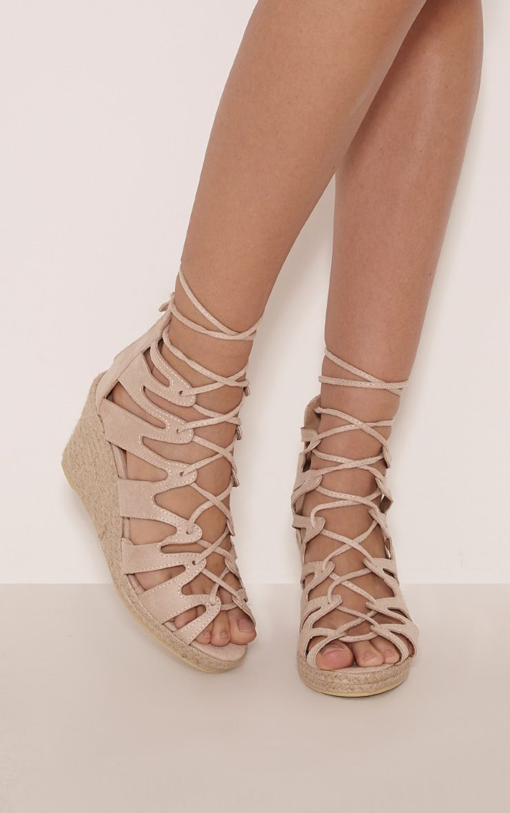 Oriana Cream Faux Suede Lace Up Wedges 1