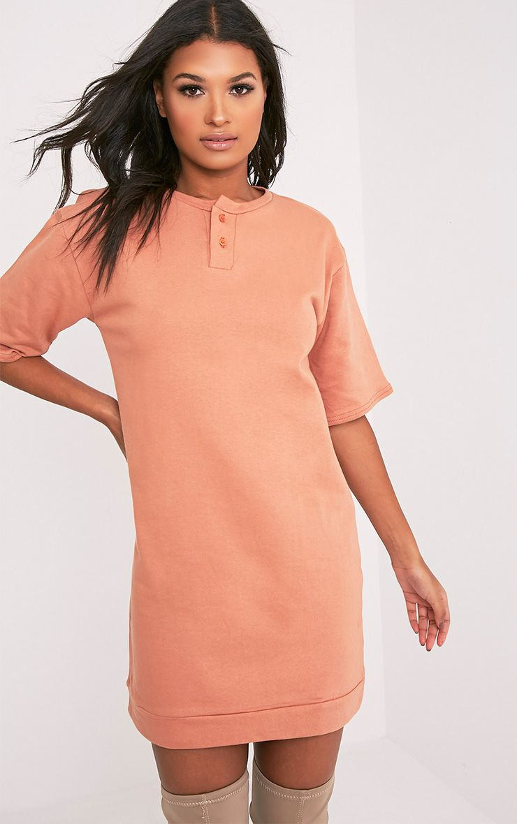 Anabelle Deep Peach Button Up Sweater Dress