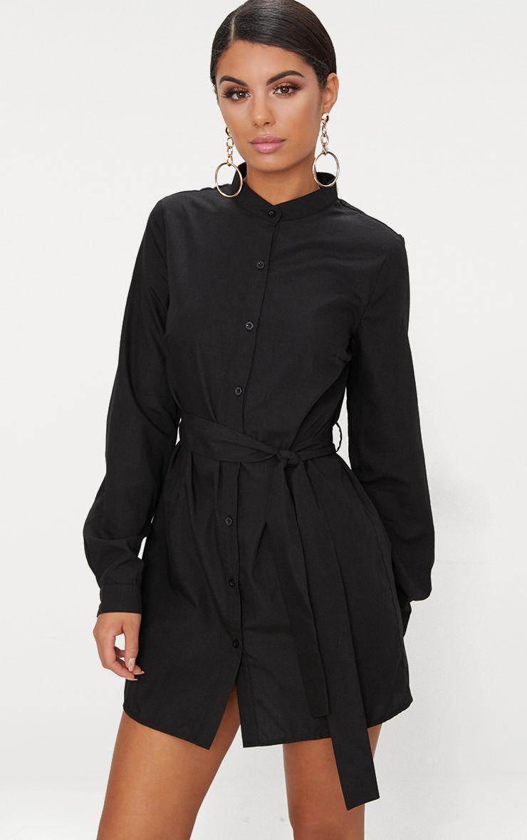 Shirt dresses women 39 s shirt dress prettylittlething for Black shirt black tie