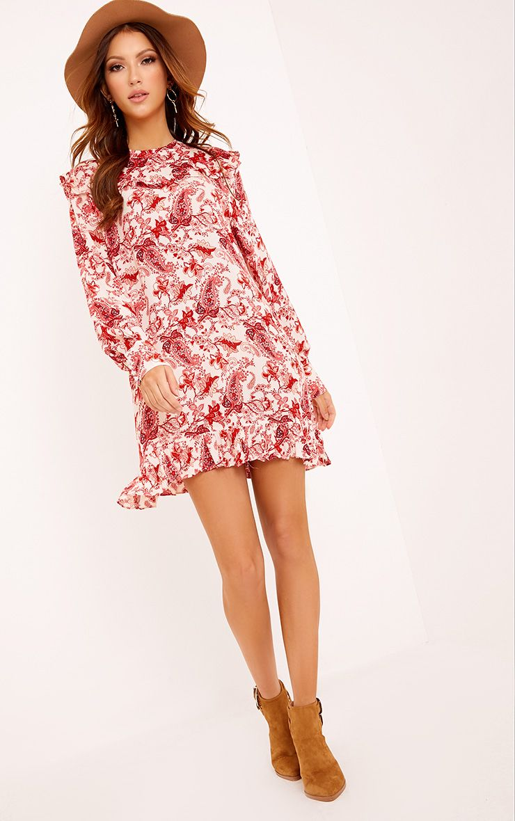 Carolinar Printed Cheese Cloth Frill Shift Dress Red