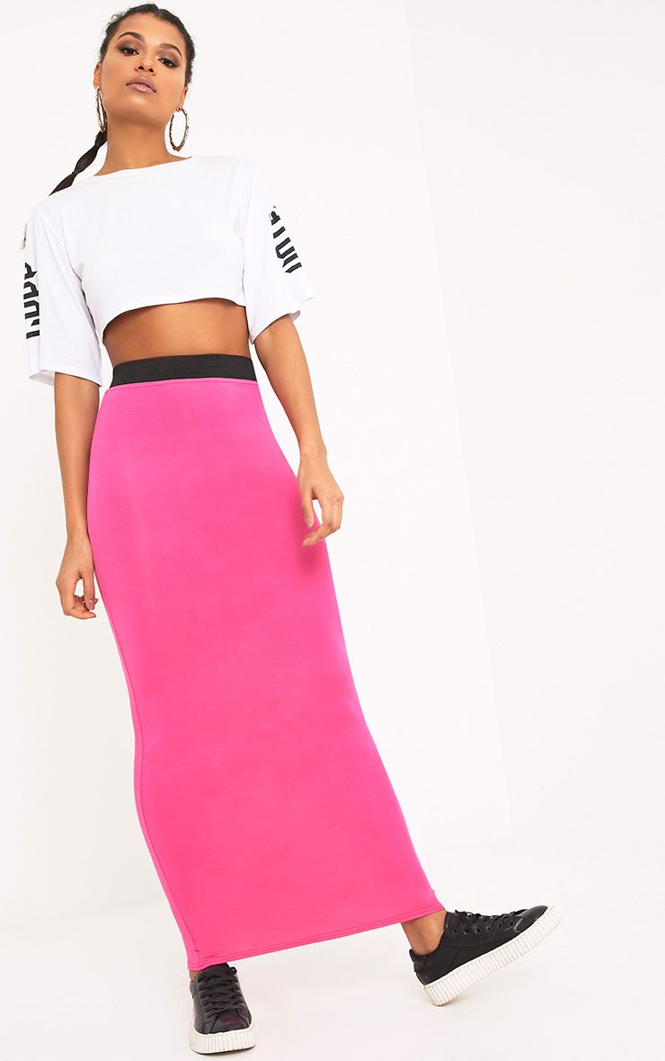 Basic Hot Pink Maxi Skirt