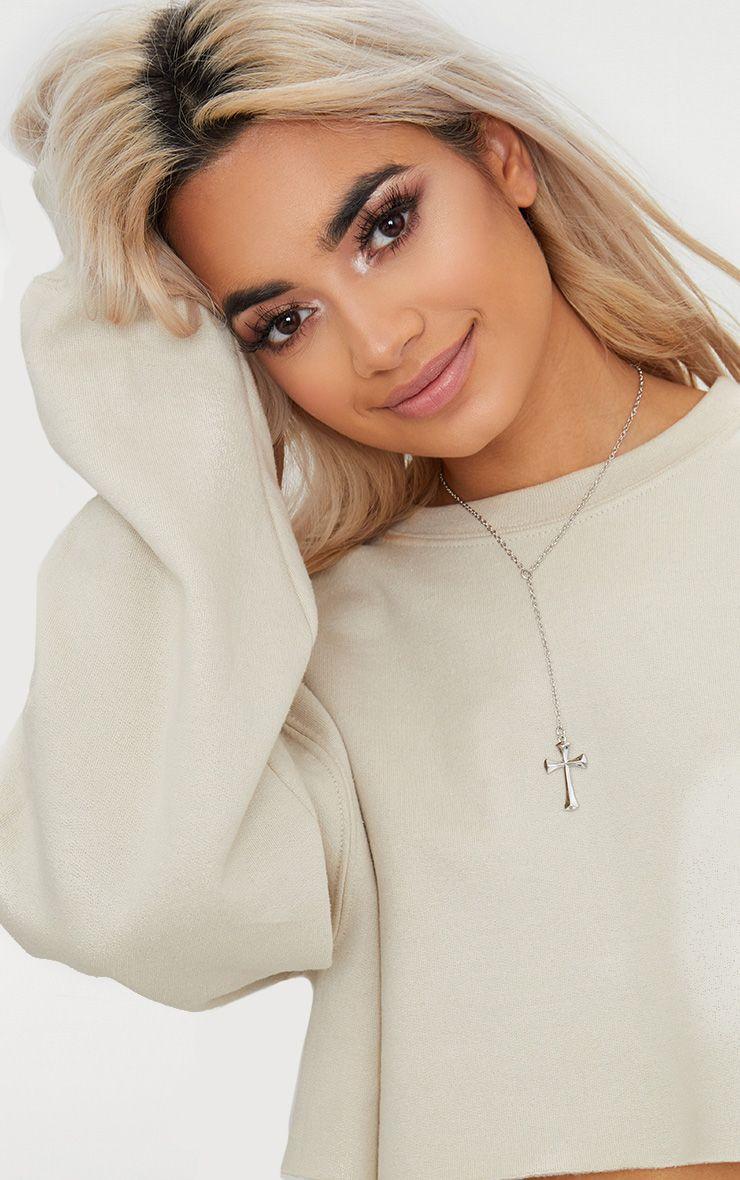 Silver Cross Drop Pendant Necklace