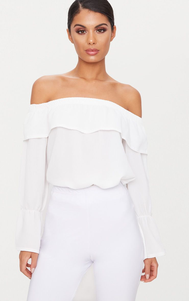Clearance Limited Edition Pre Order Online White Chiffon Bardot Crop Blouse Pretty Little Thing ouVKEevVNb
