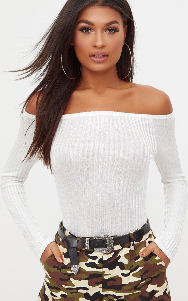 Cream Ribbed Shine Bardot Thong Bodysuit