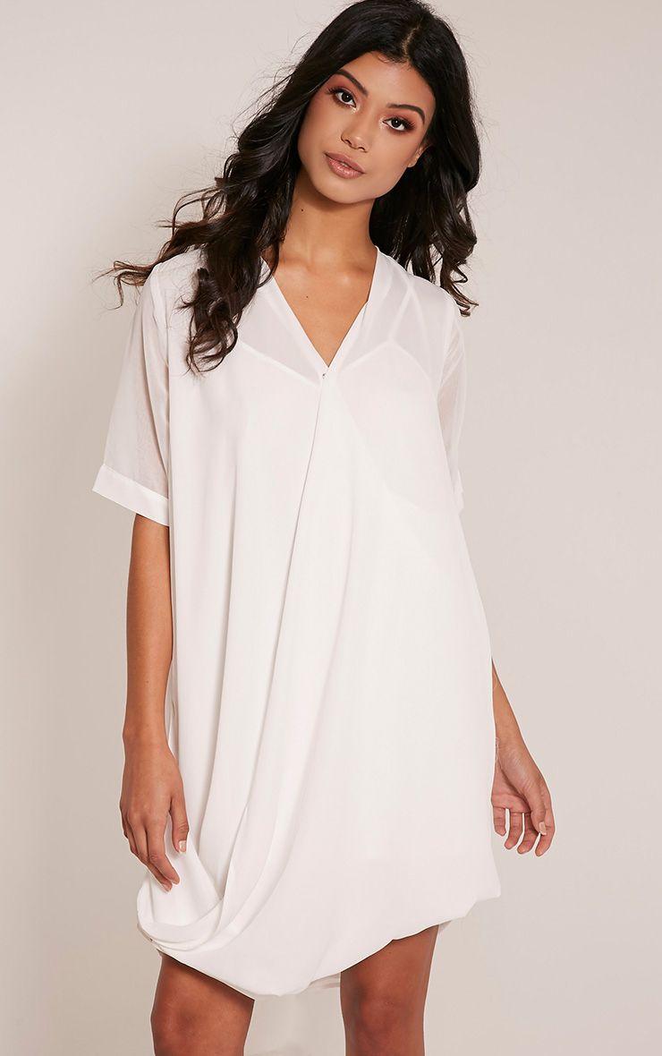 Jenia Cream Wrap Front Chiffon Dress 1