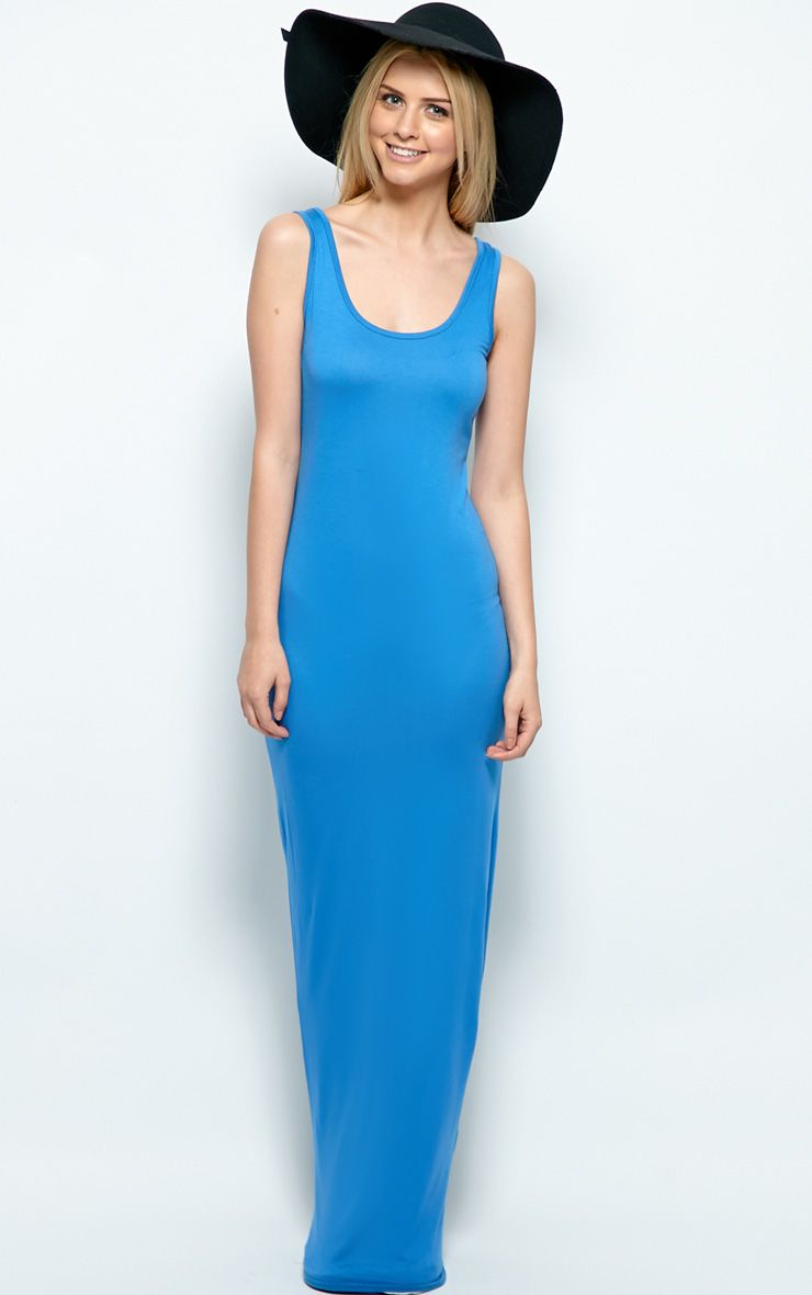 Zoe Sky Blue Jersey Maxi Dress 1