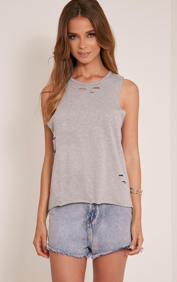 Ember Grey Ripped Drop Armhole T-Shirt 1