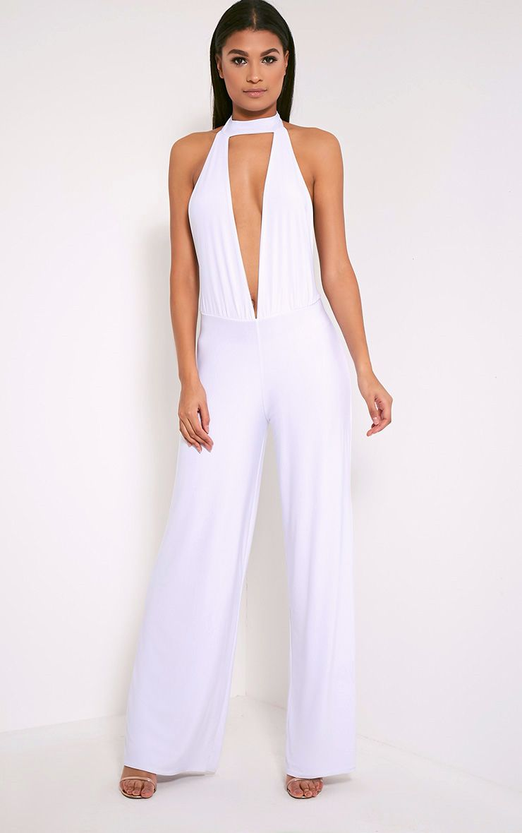 Laurie White Backless Choker Detail Slinky Jumpsuit