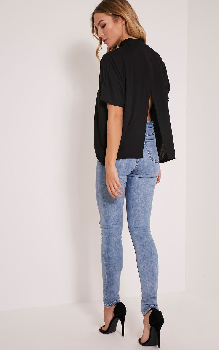 Aria Black Wrap Back Ribbed Top