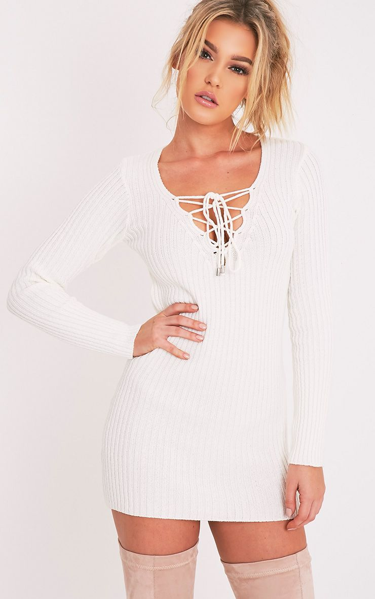 Zosia Cream Lace Up Knitted Jumper Dress