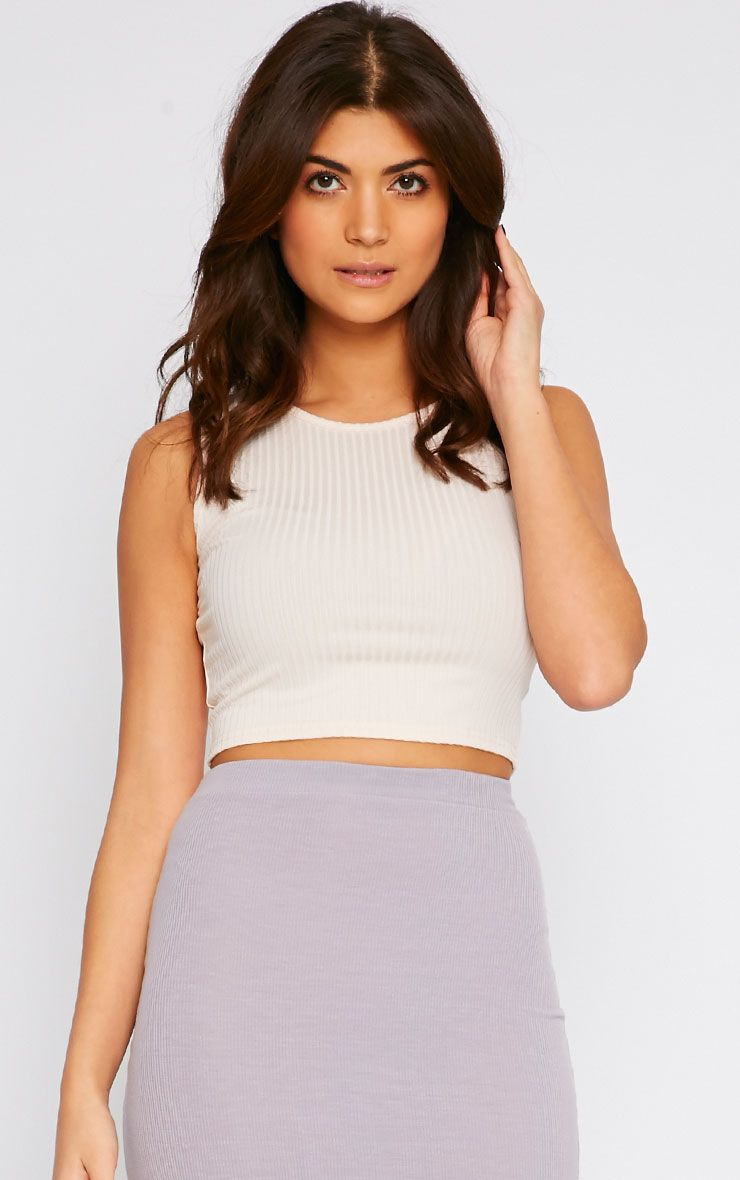 Basic Nude Ribbed Crop Top 1