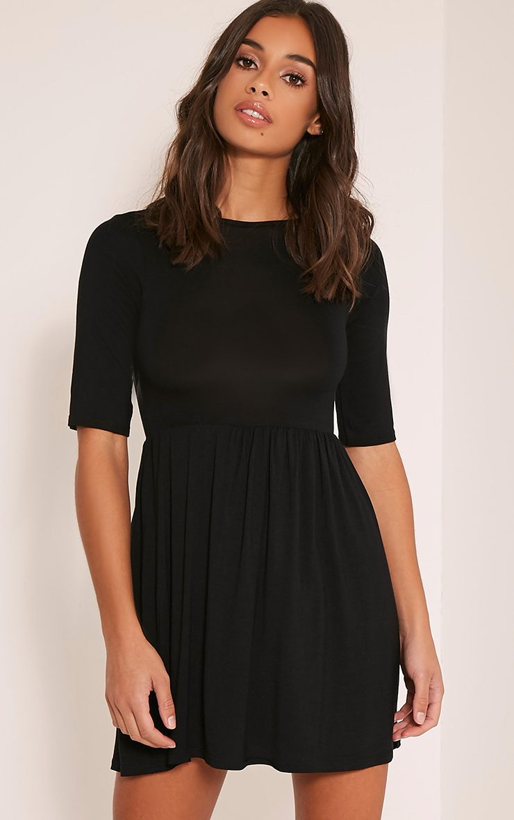 Petite Basic Black 3/4 Scoop Back Jersey Skater Dress 1
