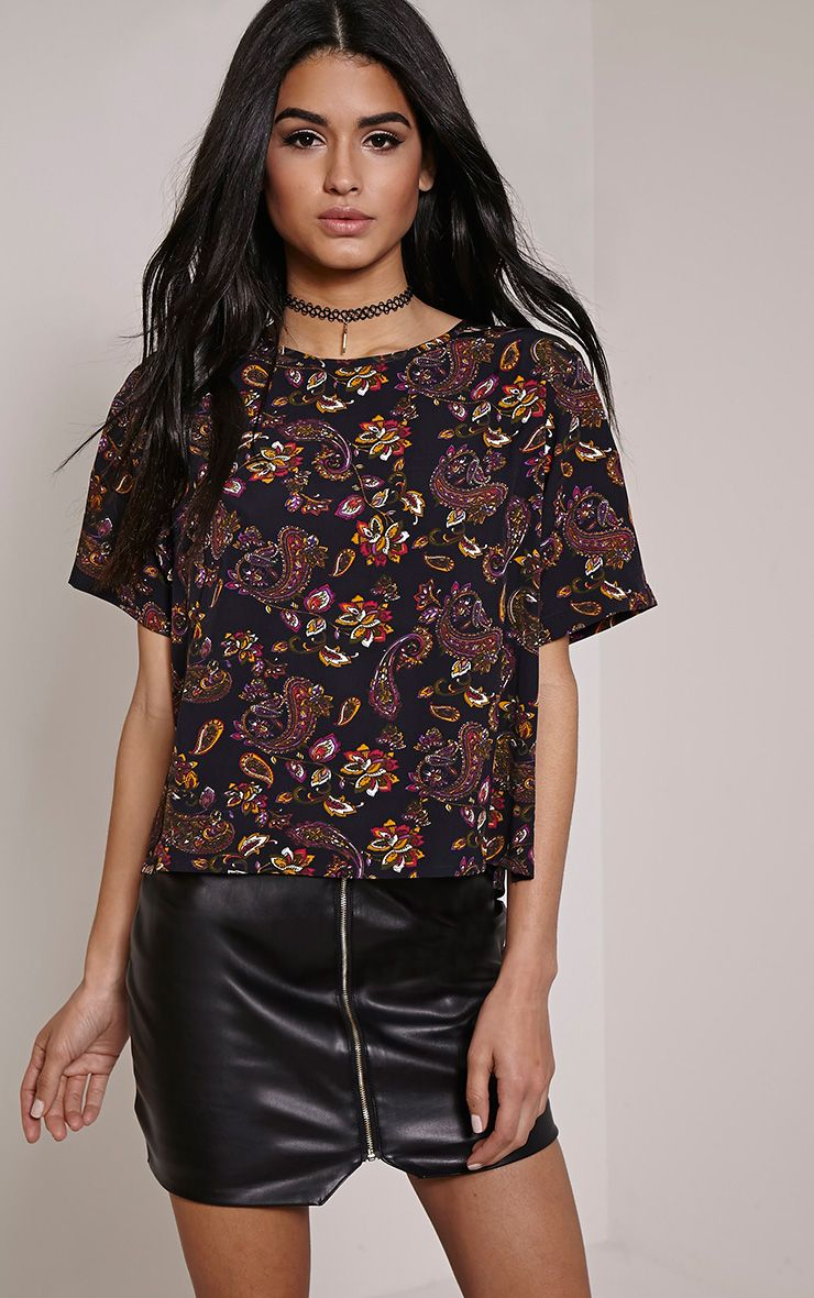 Kendella Black Paisley T-Shirt 1