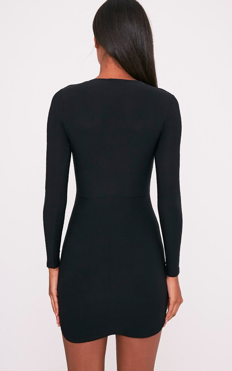 Shylo Black Long Sleeve Plunge Bodycon Dress 2