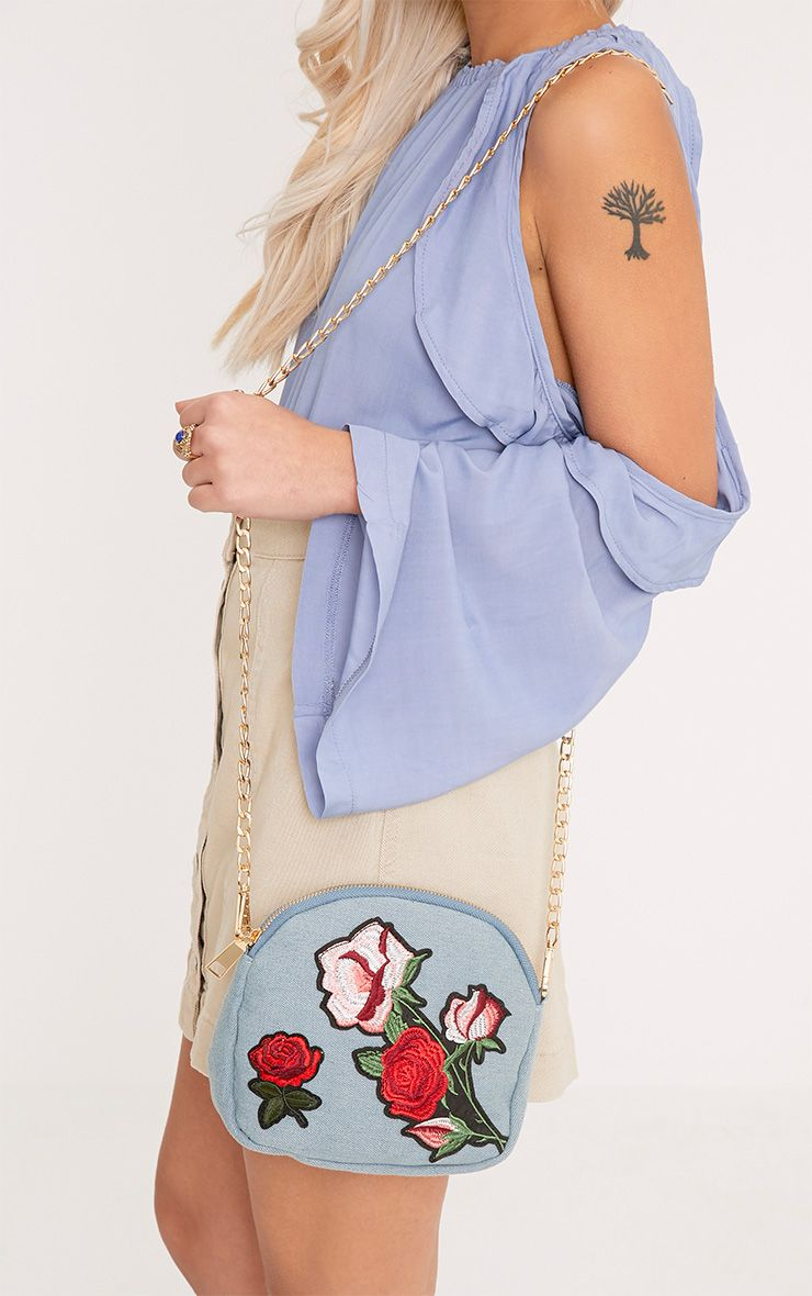 Ellen Denim Rose Applique Bag