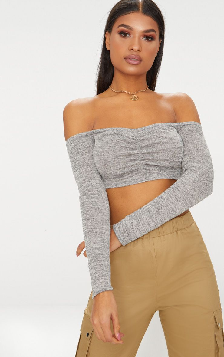 Grey Ruched Front Knit Top