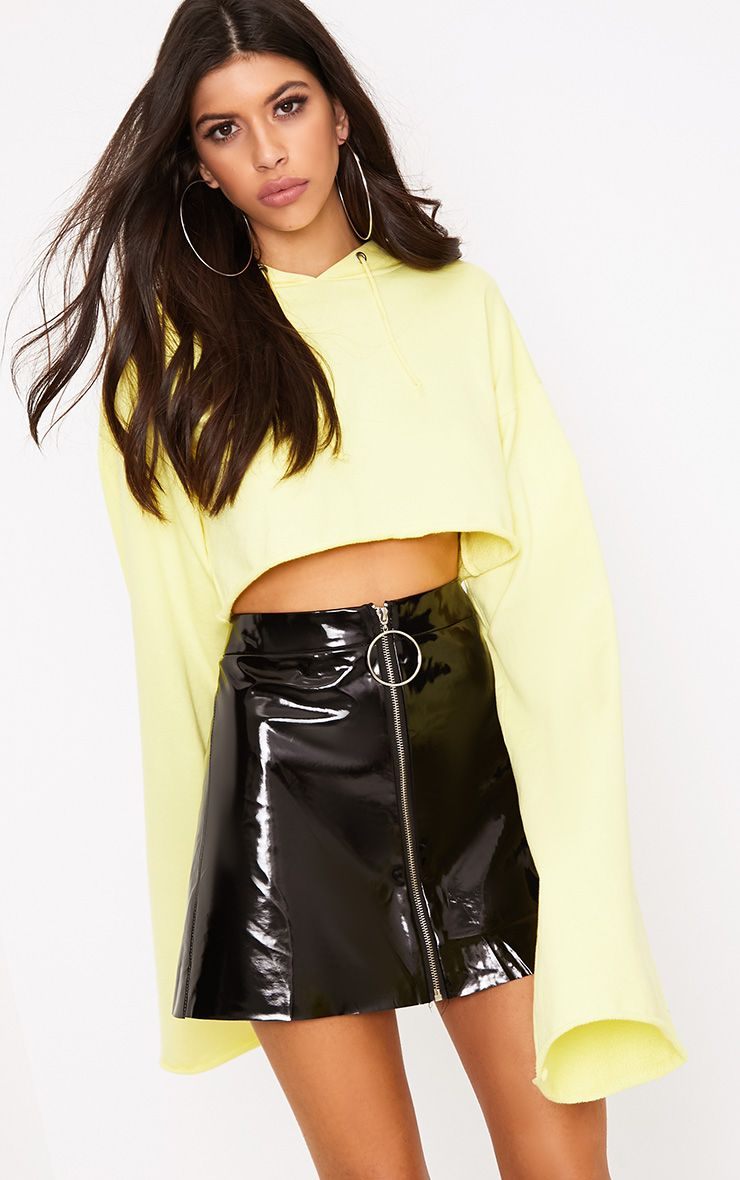 Jelisa Black Ring Zip Vinyl Mini Skirt