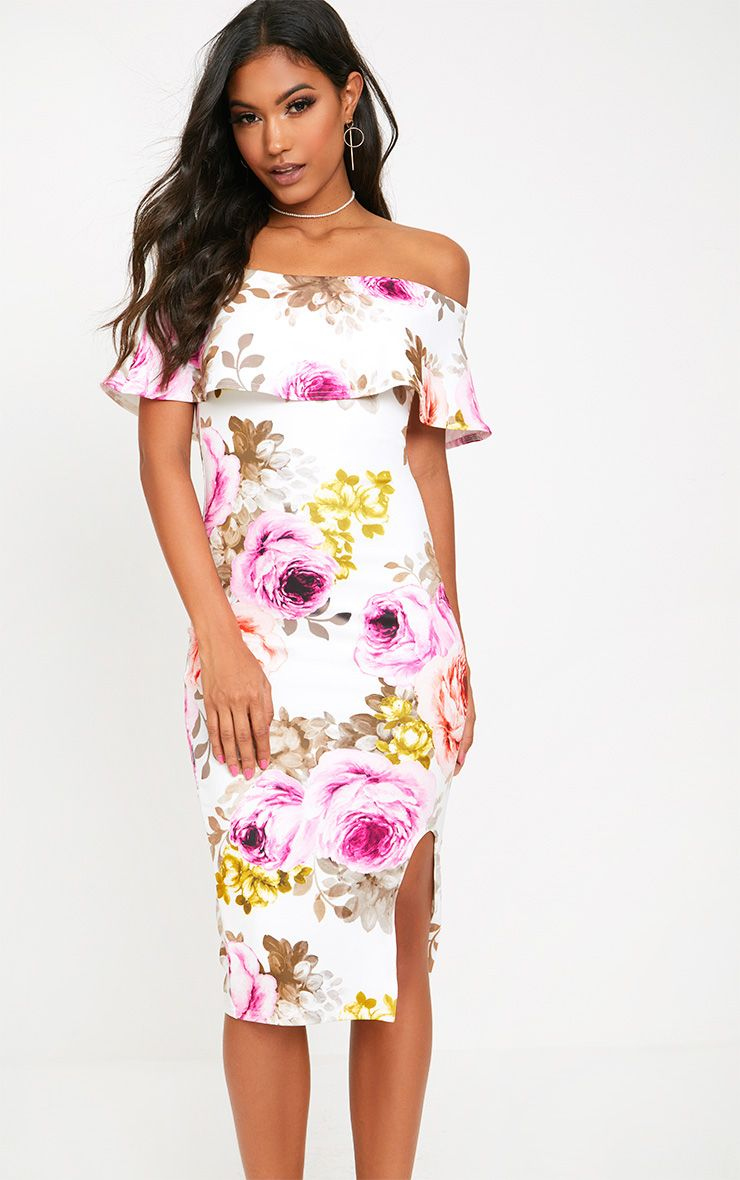 White Floral Bardot Frill Midi Dress
