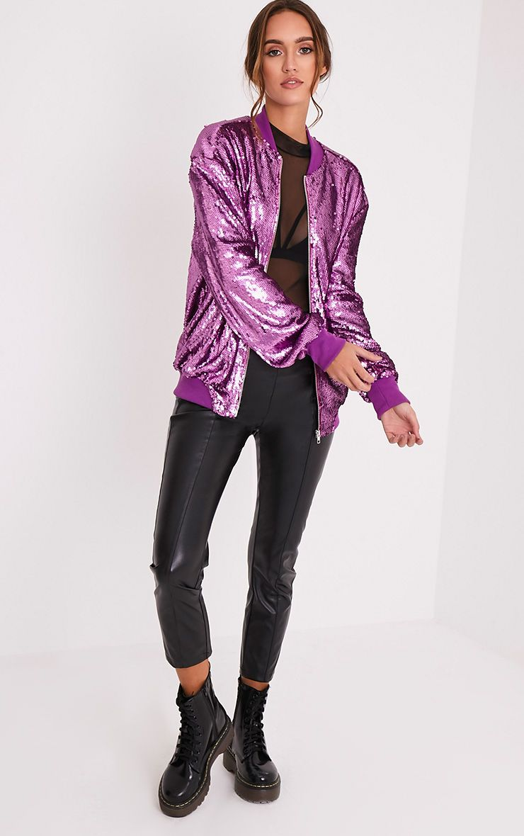 Iola Purple Sequin Bomber Jacket