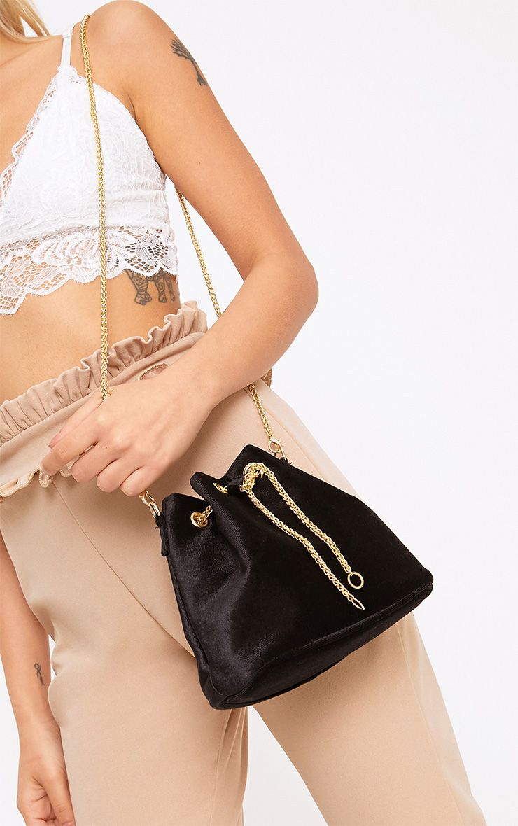 Black Velvet Chain Bucket Bag