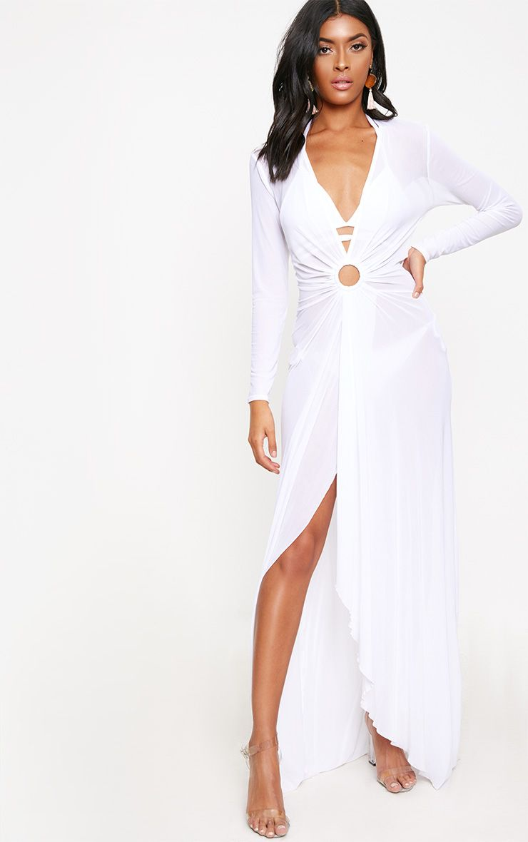 White Ring Detail Mesh Maxi Dress