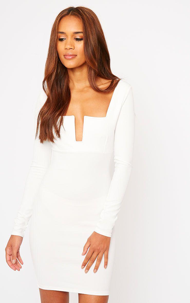 Roz Cream Plunge Mini Dress 1