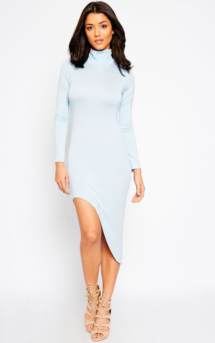 Ricky Powder Blue High Neck Jersey Dress 1