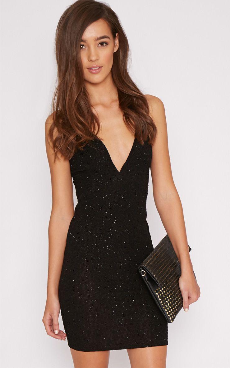 Dayna Black Sparkle Mini Dress 1